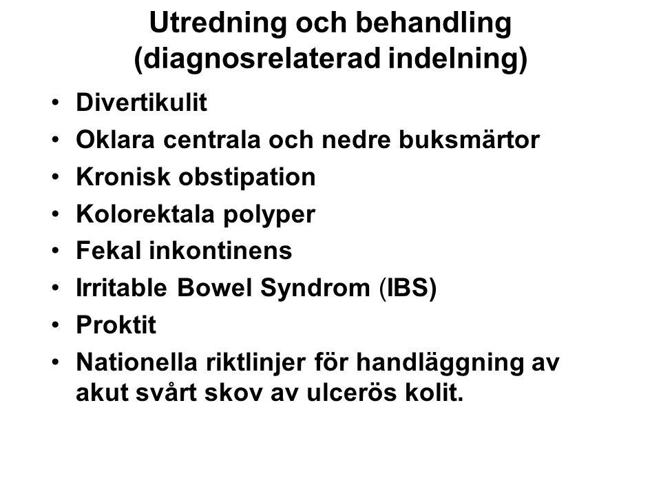 Utredning och behandling (diagnosrelaterad indelning) Divertikulit Oklara centrala och nedre buksmärtor Kronisk obstipation Kolorektala polyper Fekal