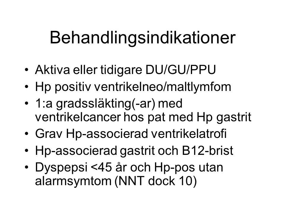Behandlingsindikationer Aktiva eller tidigare DU/GU/PPU Hp positiv ventrikelneo/maltlymfom 1:a gradssläkting(-ar) med ventrikelcancer hos pat med Hp g