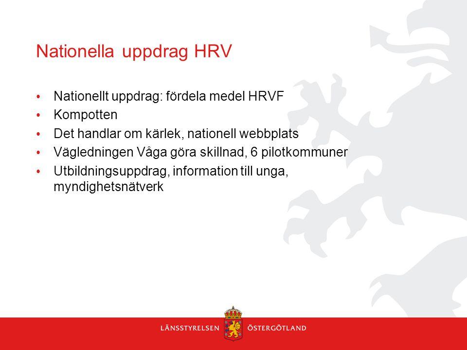 Nationella uppdrag HRV Nationellt uppdrag: fördela medel HRVF Kompotten Det handlar om kärlek, nationell webbplats Vägledningen Våga göra skillnad, 6