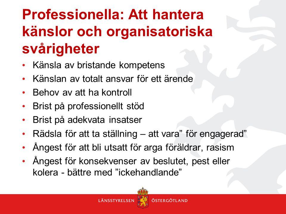 Professionella: Att hantera känslor och organisatoriska svårigheter Känsla av bristande kompetens Känslan av totalt ansvar för ett ärende Behov av att