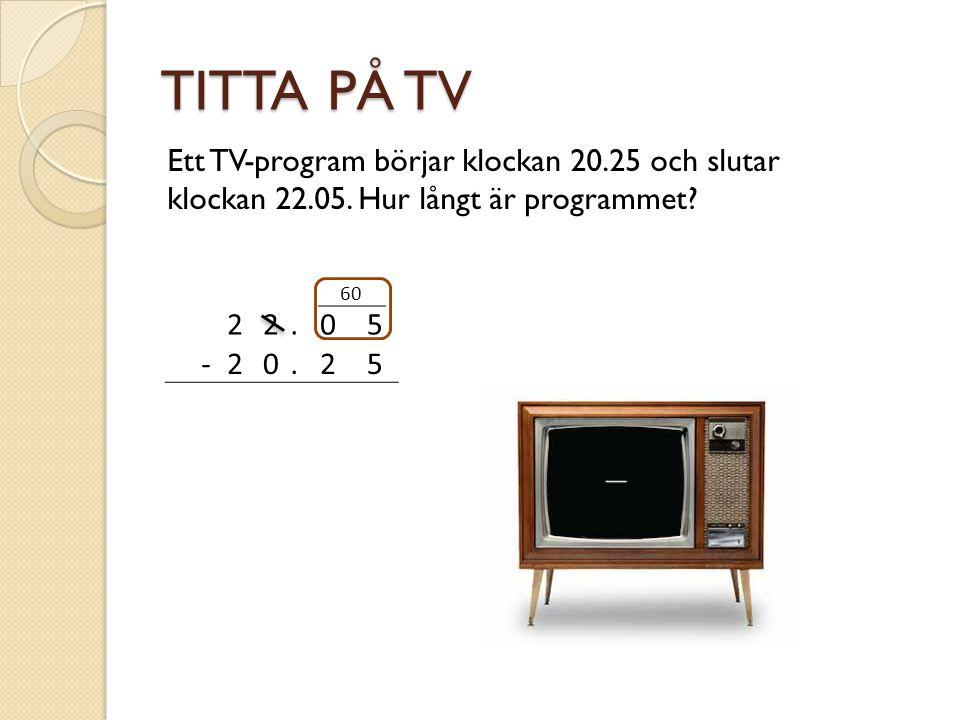 TITTA PÅ TV Ett TV-program börjar klockan 20.25 och slutar klockan 22.05.