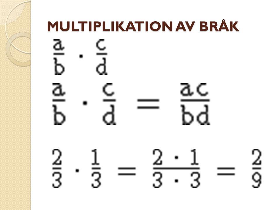 I många tillfällen kan man förkorta innan man multiplicerar. Här är ett exempel: