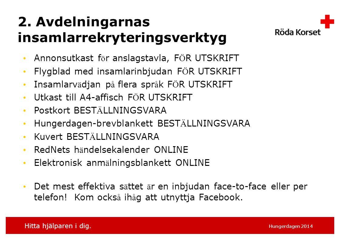 Hitta hjälparen i dig. Hungerdagen 2014 2. Avdelningarnas insamlarrekryteringsverktyg Annonsutkast f ö r anslagstavla, F Ö R UTSKRIFT Flygblad med ins