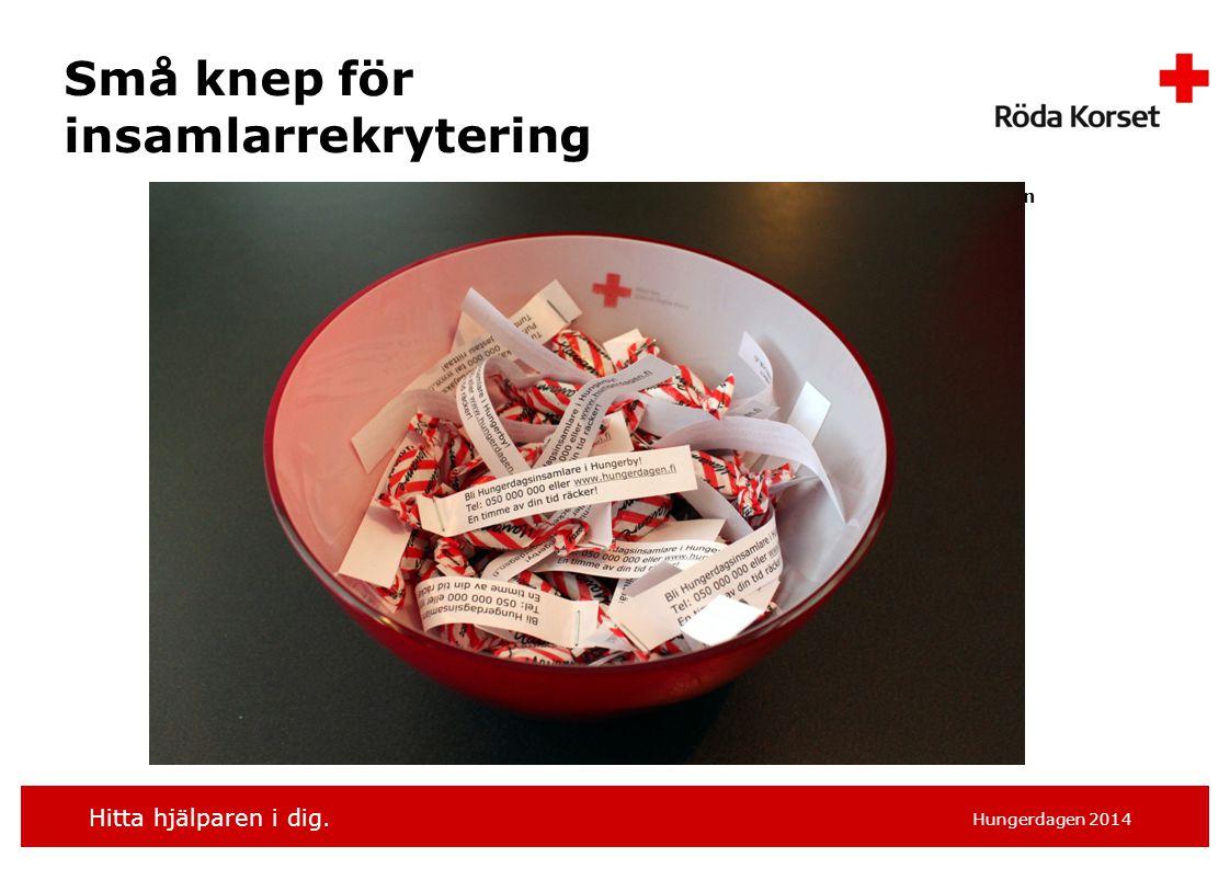 Hitta hjälparen i dig. Hungerdagen 2014 Små knep för insamlarrekrytering Kimmo Holopainen
