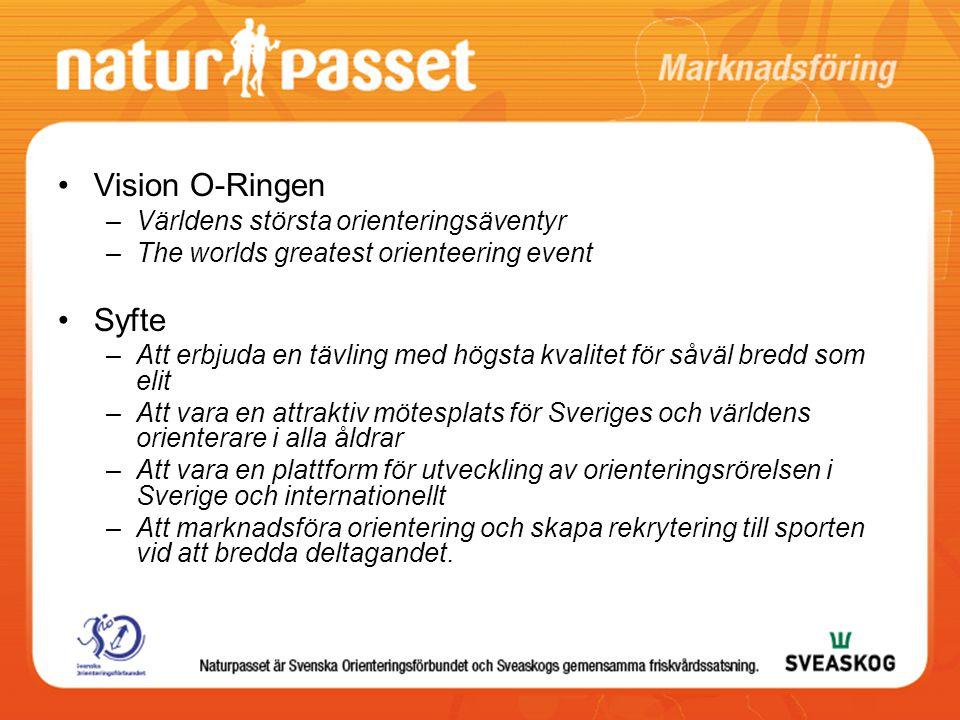 Vision O-Ringen –Världens största orienteringsäventyr –The worlds greatest orienteering event Syfte –Att erbjuda en tävling med högsta kvalitet för såväl bredd som elit –Att vara en attraktiv mötesplats för Sveriges och världens orienterare i alla åldrar –Att vara en plattform för utveckling av orienteringsrörelsen i Sverige och internationellt –Att marknadsföra orientering och skapa rekrytering till sporten vid att bredda deltagandet.