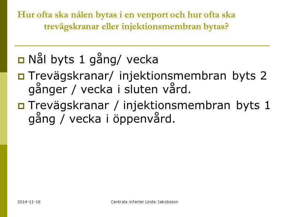 2014-11-19Centrala infarter Linda Jakobsson Hur ofta ska nålen bytas i en venport och hur ofta ska trevägskranar eller injektionsmembran bytas?  Nål