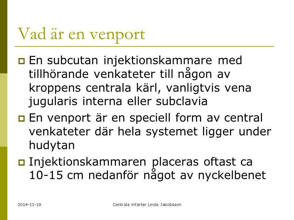 2014-11-19Centrala infarter Linda Jakobsson Vad är en venport  En subcutan injektionskammare med tillhörande venkateter till någon av kroppens centra