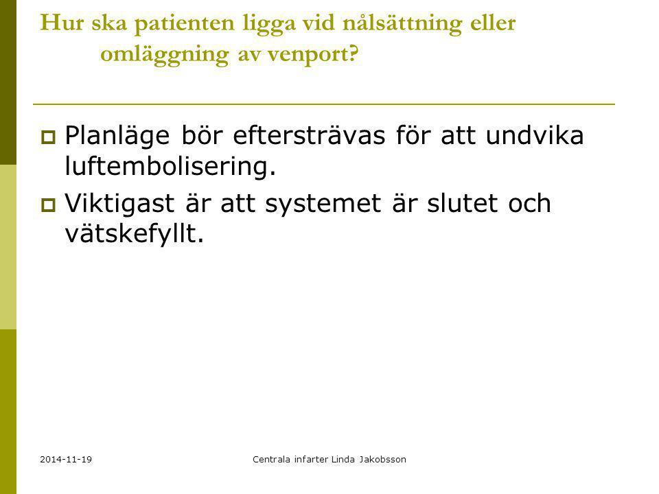 2014-11-19Centrala infarter Linda Jakobsson Hur ska patienten ligga vid nålsättning eller omläggning av venport?  Planläge bör eftersträvas för att u