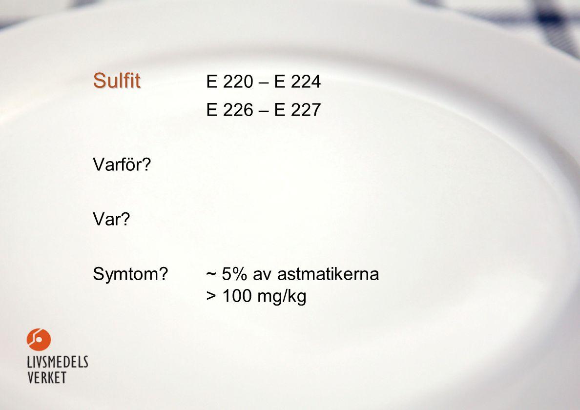 Sulfit Sulfit E 220 – E 224 E 226 – E 227 Varför Var Symtom ~ 5% av astmatikerna > 100 mg/kg