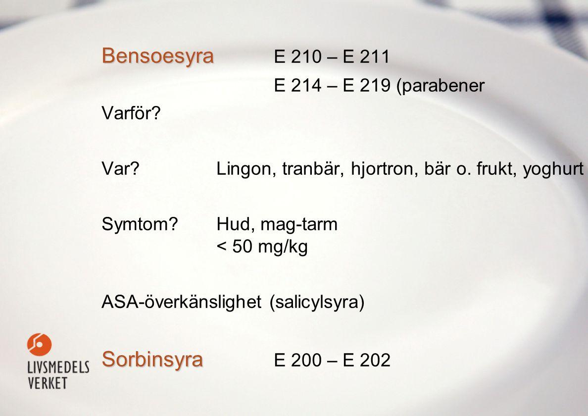 Bensoesyra Bensoesyra E 210 – E 211 E 214 – E 219 (parabener Varför.