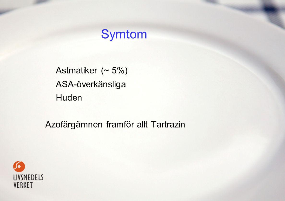 Symtom Astmatiker(~ 5%) ASA-överkänsliga Huden Azofärgämnen framför allt Tartrazin