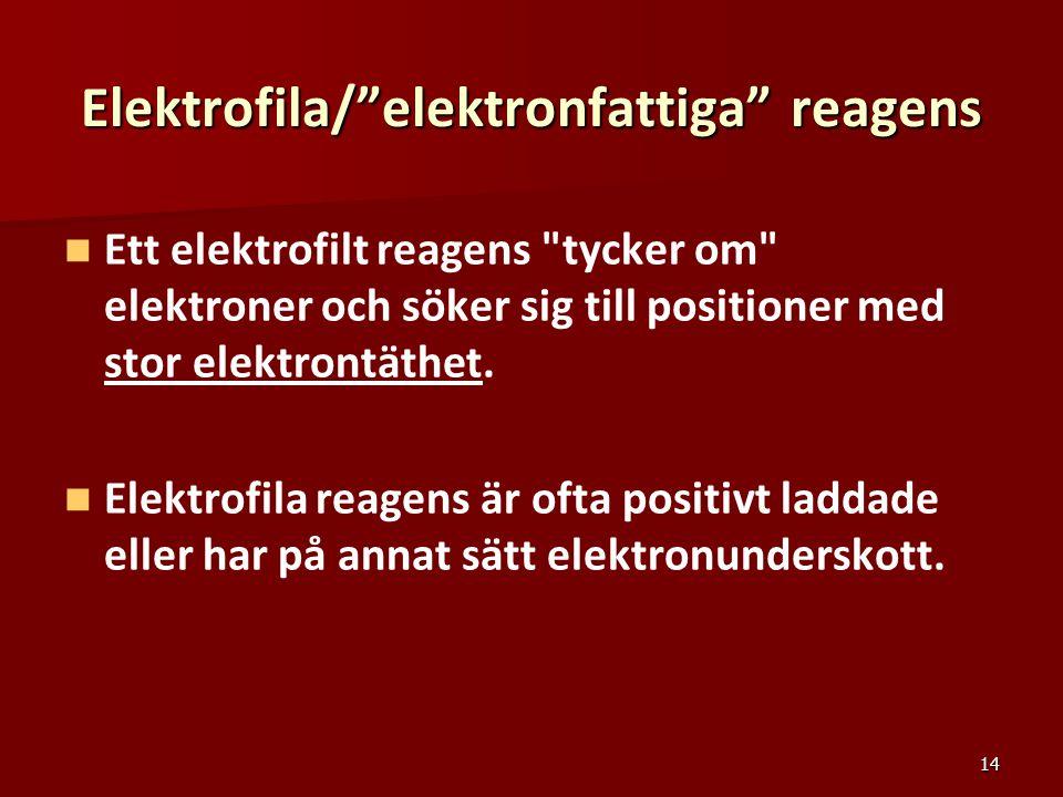 """14 Elektrofila/""""elektronfattiga"""" reagens Ett elektrofilt reagens"""