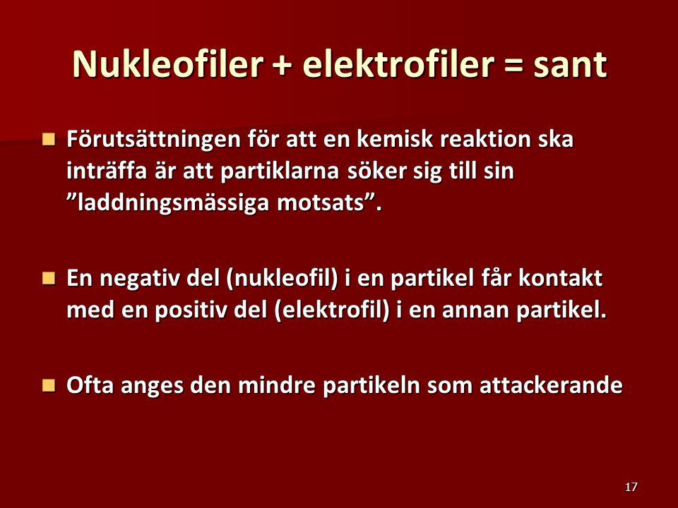 """17 Nukleofiler + elektrofiler = sant Förutsättningen för att en kemisk reaktion ska inträffa är att partiklarna söker sig till sin """"laddningsmässiga m"""