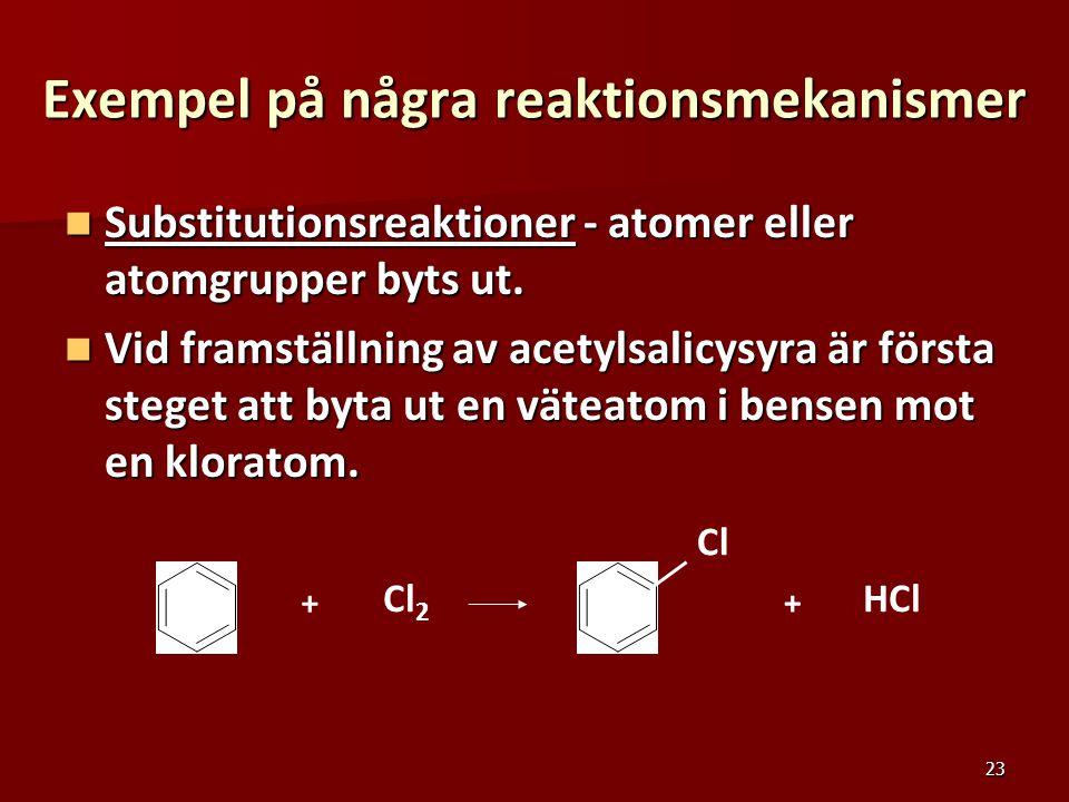 23 Exempel på några reaktionsmekanismer Substitutionsreaktioner - atomer eller atomgrupper byts ut. Substitutionsreaktioner - atomer eller atomgrupper