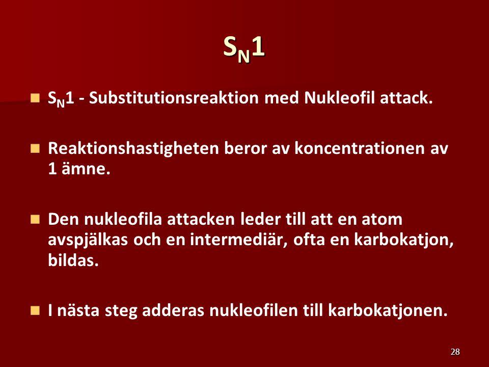 28 SN1SN1SN1SN1 S N 1 - Substitutionsreaktion med Nukleofil attack. Reaktionshastigheten beror av koncentrationen av 1 ämne. Den nukleofila attacken l