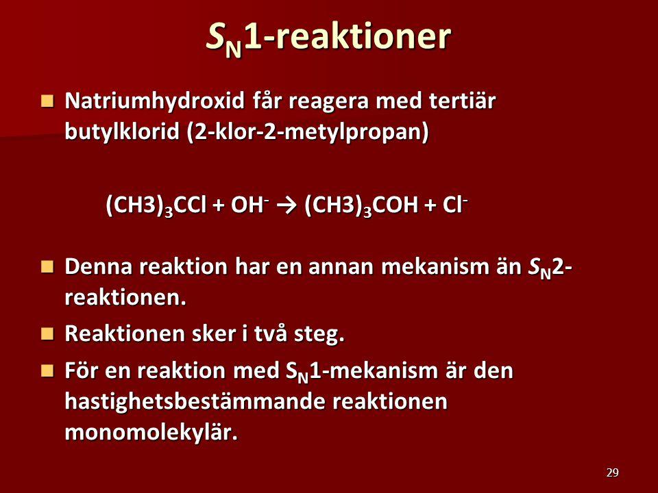29 S N 1-reaktioner Natriumhydroxid får reagera med tertiär butylklorid (2-klor-2-metylpropan) Natriumhydroxid får reagera med tertiär butylklorid (2-