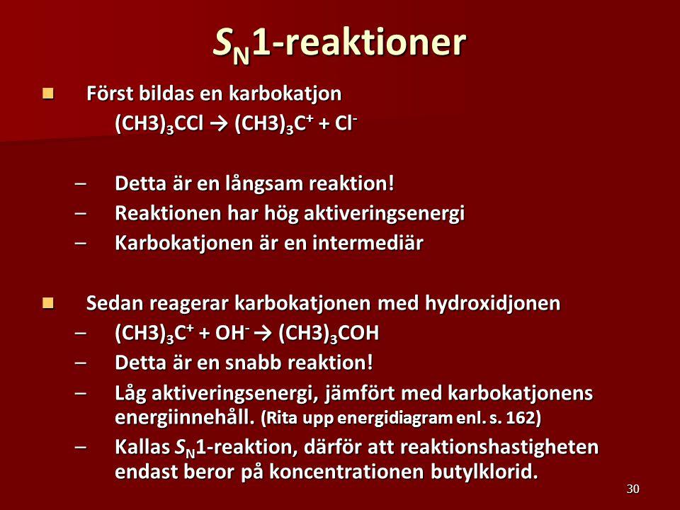 30 S N 1-reaktioner Först bildas en karbokatjon Först bildas en karbokatjon (CH3) 3 CCl → (CH3) 3 C + + Cl - –Detta är en långsam reaktion! –Reaktione