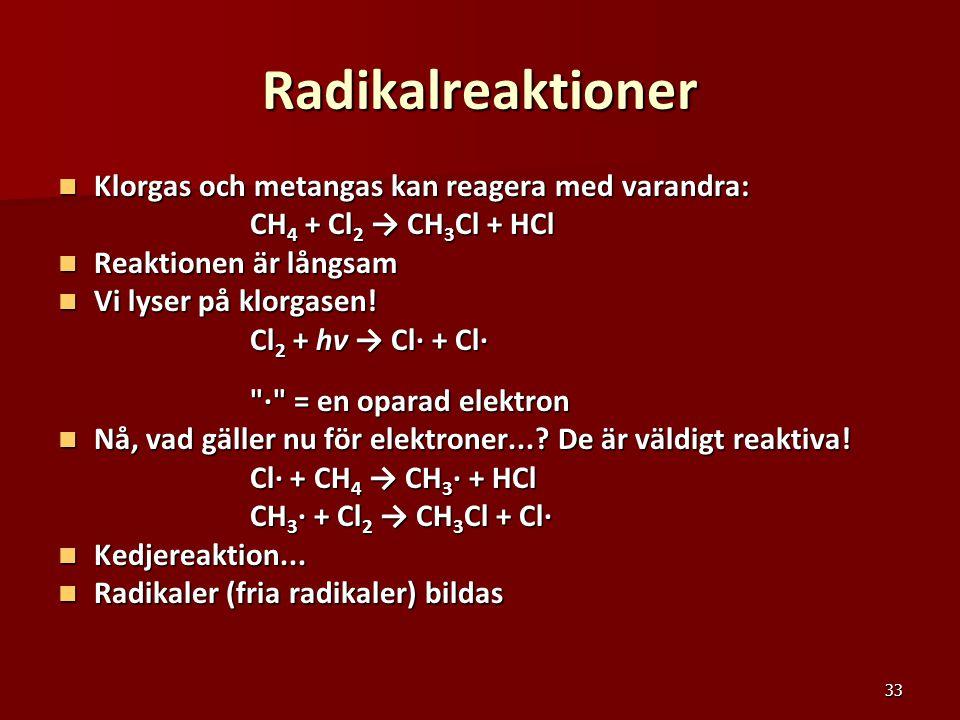 33 Radikalreaktioner Klorgas och metangas kan reagera med varandra: Klorgas och metangas kan reagera med varandra: CH 4 + Cl 2 → CH 3 Cl + HCl Reaktio