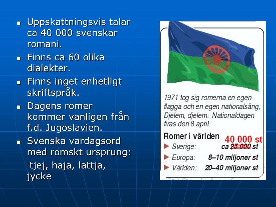 Uppskattningsvis talar ca 40 000 svenskar romani. Uppskattningsvis talar ca 40 000 svenskar romani. Finns ca 60 olika dialekter. Finns ca 60 olika dia