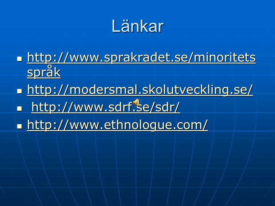Länkar http://www.sprakradet.se/minoritets språk http://www.sprakradet.se/minoritets språk http://www.sprakradet.se/minoritets språk http://www.sprakr