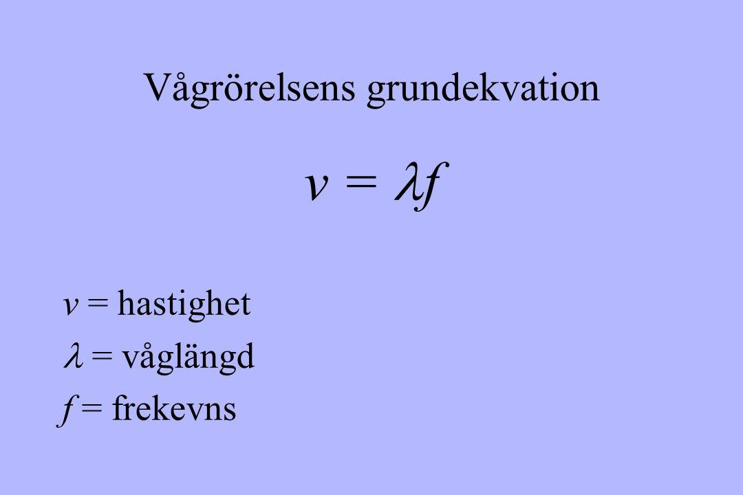 Vågrörelsens grundekvation v = f v = hastighet = våglängd f = frekevns