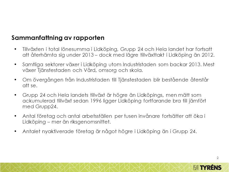 3 Inledning Tyréns AB har i många år haft uppdraget att analysera tillväxten i Lidköping jämfört med hela landet och en grupp om 24 kommuner.