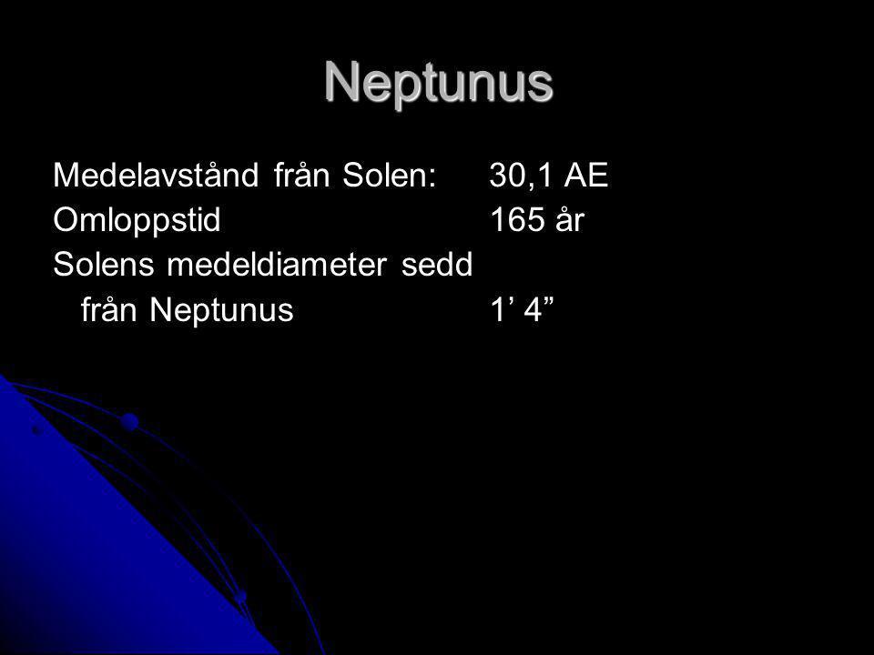 "Neptunus Medelavstånd från Solen: 30,1 AE Omloppstid 165 år Solens medeldiameter sedd från Neptunus 1' 4"" från Neptunus 1' 4"""