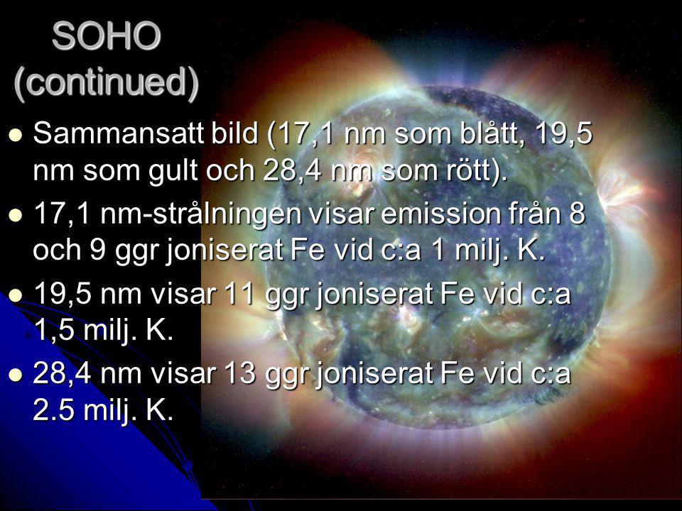 SOHO (continued) Sammansatt bild (17,1 nm som blått, 19,5 nm som gult och 28,4 nm som rött). Sammansatt bild (17,1 nm som blått, 19,5 nm som gult och