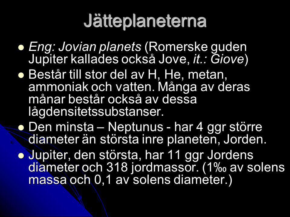 Jätteplaneterna Eng: Jovian planets (Romerske guden Jupiter kallades också Jove, it.: Giove) Eng: Jovian planets (Romerske guden Jupiter kallades också Jove, it.: Giove) Består till stor del av H, He, metan, ammoniak och vatten.