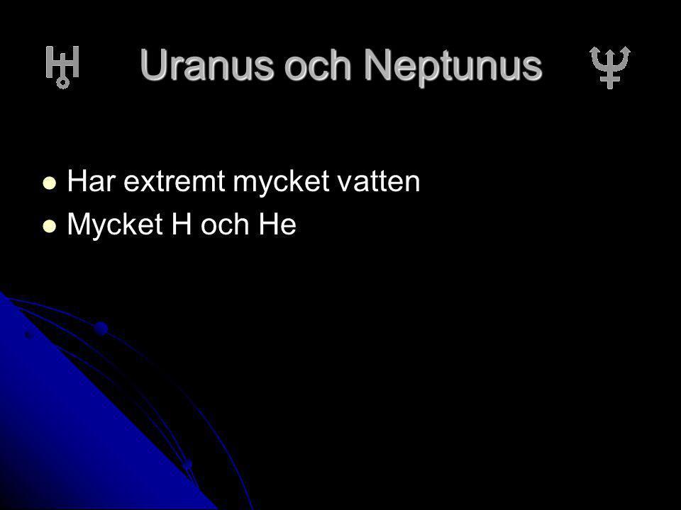 Uranus och Neptunus Har extremt mycket vatten Har extremt mycket vatten Mycket H och He Mycket H och He