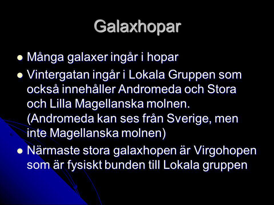 Galaxhopar Många galaxer ingår i hopar Många galaxer ingår i hopar Vintergatan ingår i Lokala Gruppen som också innehåller Andromeda och Stora och Lilla Magellanska molnen.