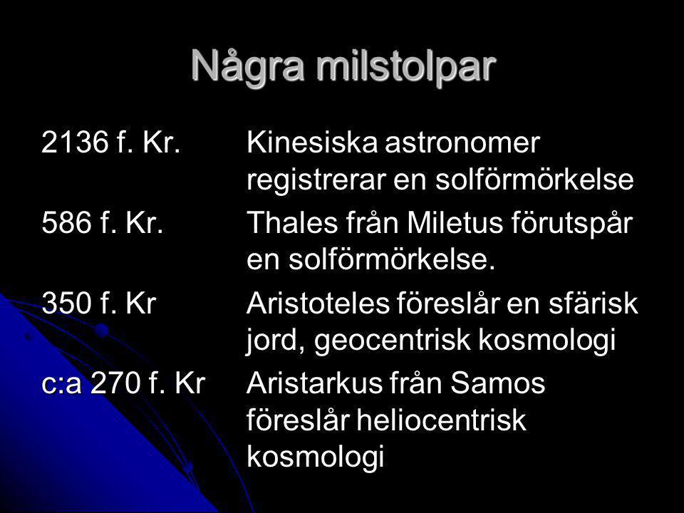 Några milstolpar 2136 f.Kr. Kinesiska astronomer registrerar en solförmörkelse 586 f.