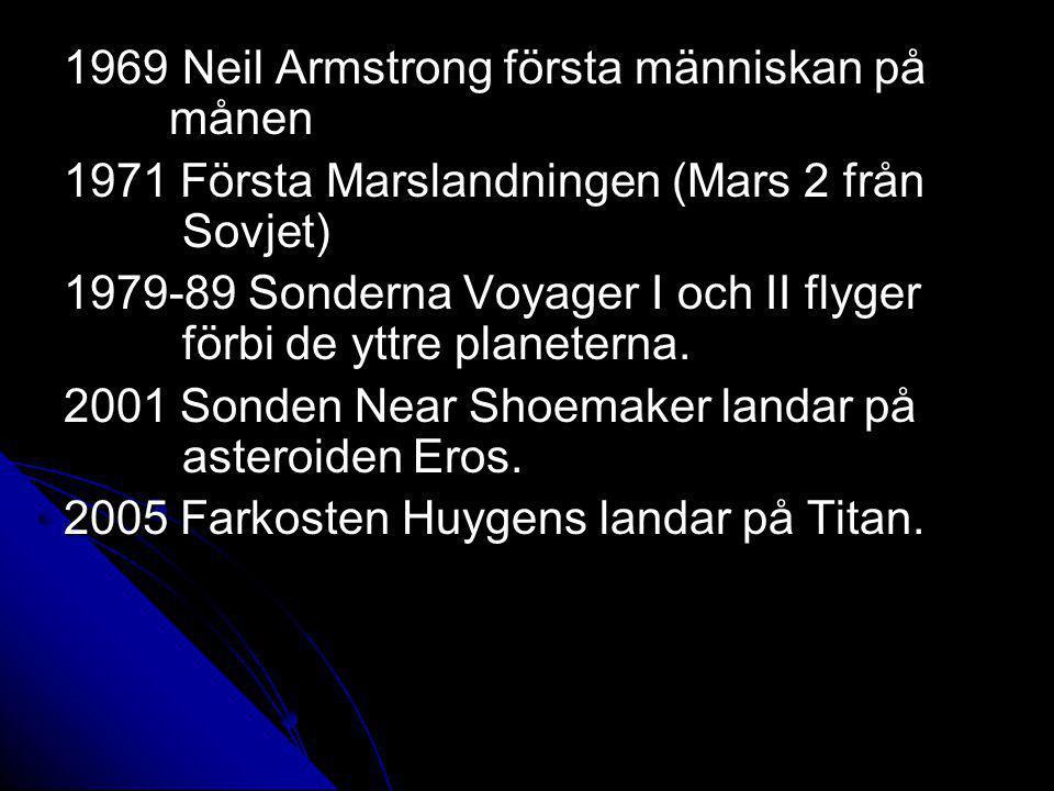 1969 Neil Armstrong första människan på månen 1971 Första Marslandningen (Mars 2 från Sovjet) 1979-89 Sonderna Voyager I och II flyger förbi de yttre