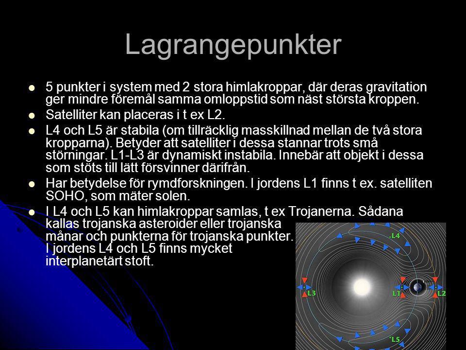 Lagrangepunkter 5 punkter i system med 2 stora himlakroppar, där deras gravitation ger mindre föremål samma omloppstid som näst största kroppen. Satel
