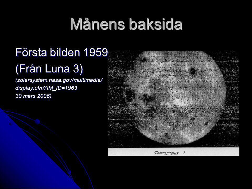 Månens baksida Första bilden 1959 (Från Luna 3) (solarsystem.nasa.gov/multimedia/display.cfm?IM_ID=1963 30 mars 2006)