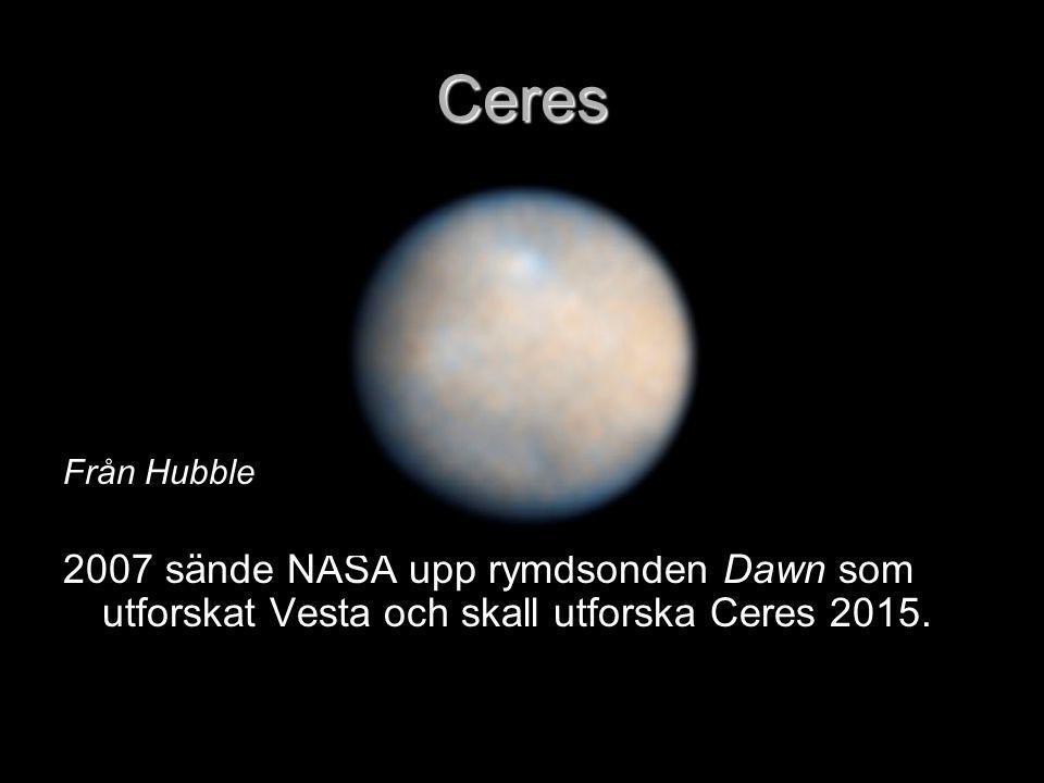 Ceres Från Hubble 2007 sände NASA upp rymdsonden Dawn som utforskat Vesta och skall utforska Ceres 2015.