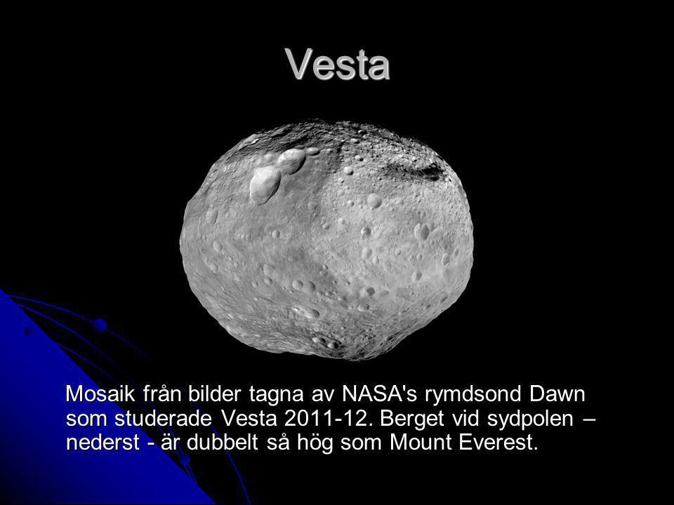 Vesta Mosaik från bilder tagna av NASA's rymdsond Dawn som studerade Vesta 2011-12. Berget vid sydpolen – nederst - är dubbelt så hög som Mount Everes