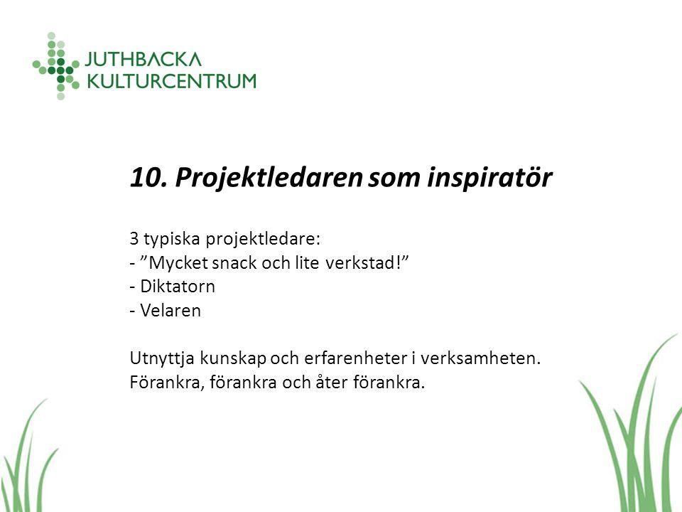 """10. Projektledaren som inspiratör 3 typiska projektledare: - """"Mycket snack och lite verkstad!"""" - Diktatorn - Velaren Utnyttja kunskap och erfarenheter"""