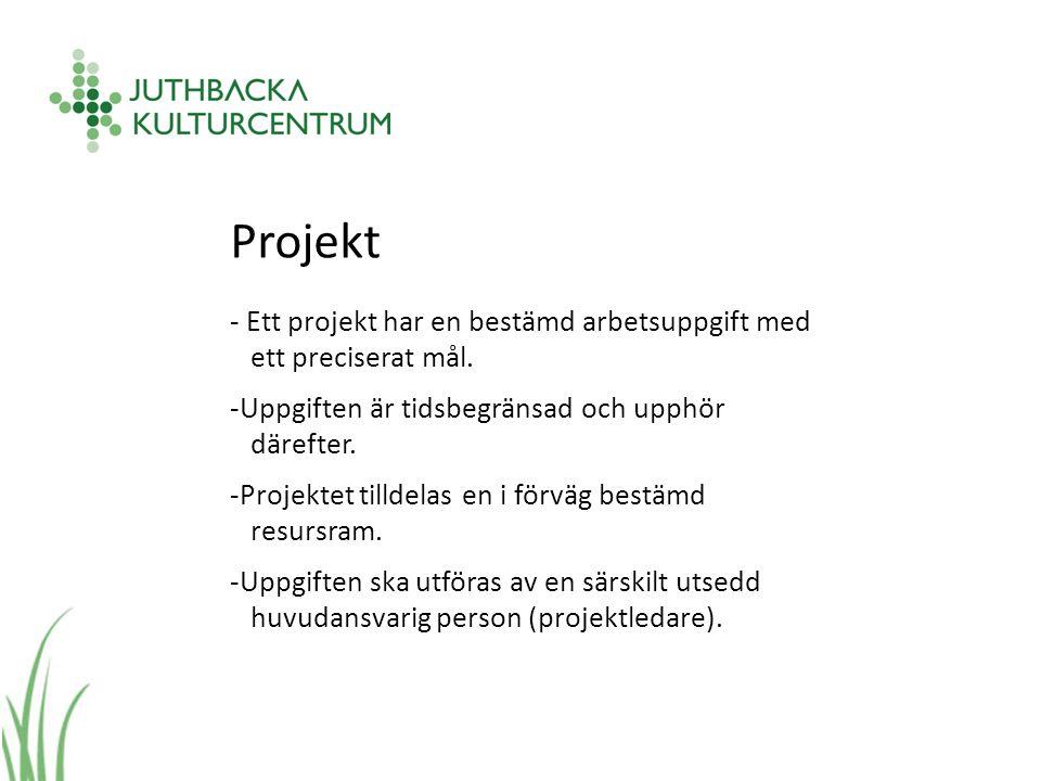 Projekt - Ett projekt har en bestämd arbetsuppgift med ett preciserat mål.