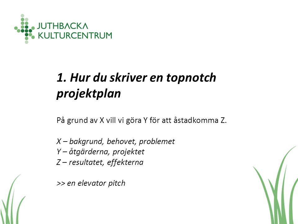 1. Hur du skriver en topnotch projektplan På grund av X vill vi göra Y för att åstadkomma Z.