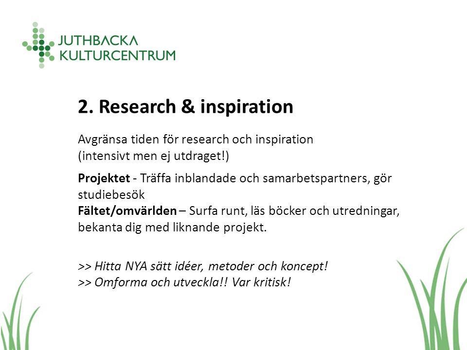 2. Research & inspiration Avgränsa tiden för research och inspiration (intensivt men ej utdraget!) Projektet - Träffa inblandade och samarbetspartners