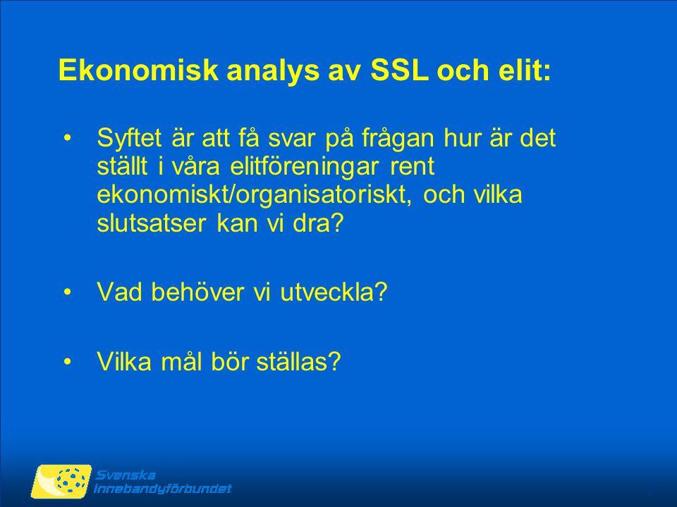 2 Ekonomisk analys av SSL och elit: Syftet är att få svar på frågan hur är det ställt i våra elitföreningar rent ekonomiskt/organisatoriskt, och vilka
