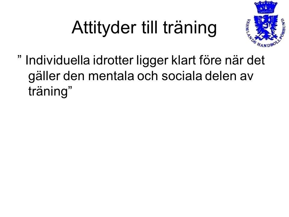"""Attityder till träning """" Individuella idrotter ligger klart före när det gäller den mentala och sociala delen av träning"""""""