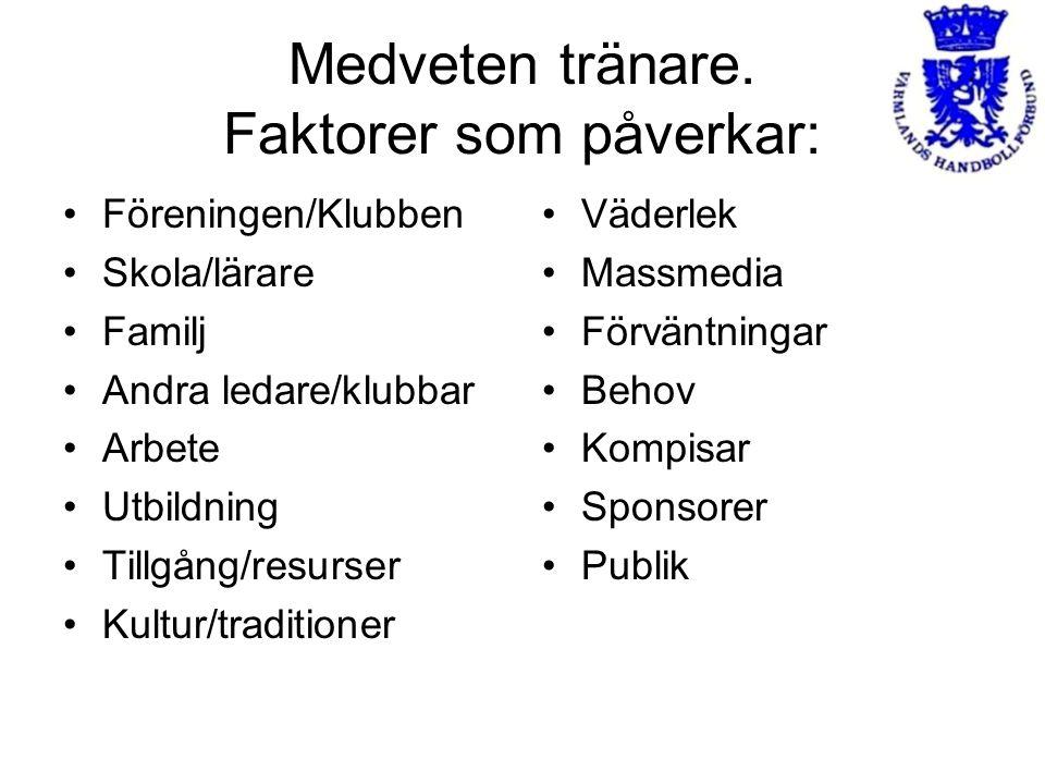 Medveten tränare. Faktorer som påverkar: Föreningen/Klubben Skola/lärare Familj Andra ledare/klubbar Arbete Utbildning Tillgång/resurser Kultur/tradit