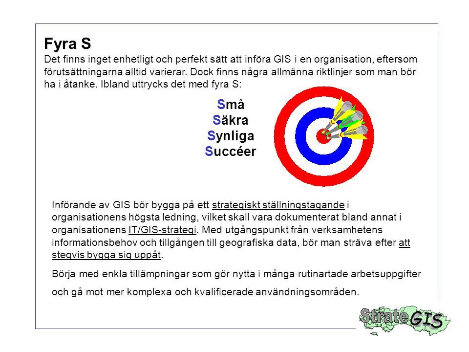 Fyra S Det finns inget enhetligt och perfekt sätt att införa GIS i en organisation, eftersom förutsättningarna alltid varierar. Dock finns några allmä