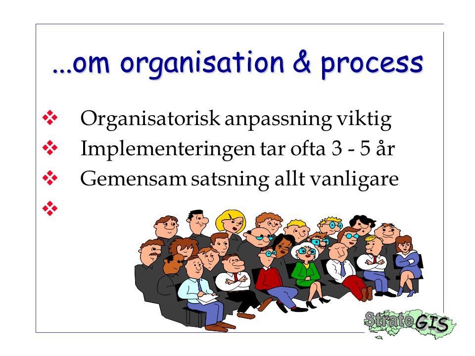 ...om organisation & process  Organisatorisk anpassning viktig  Implementeringen tar ofta 3 - 5 år  Gemensam satsning allt vanligare 