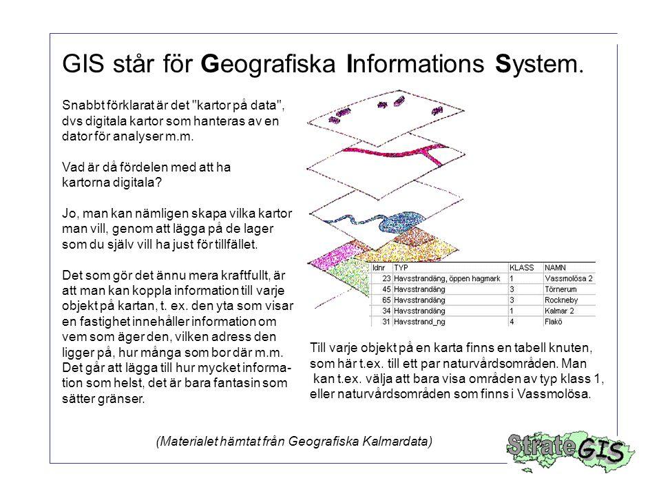 Två huvuddelar i ett GIS Register och annan information –befintliga register –externa databaser –scannade dokument Kartor och annan geometrisk information –koordinatregister –gatuadresser –digitala kartor –ritningar Källa: ESRI Sweden, 1993
