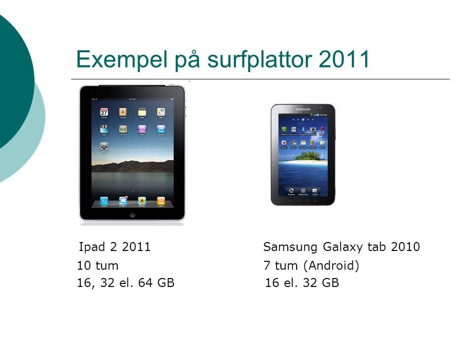 Exempel på surfplattor 2011 Ipad 2 2011 Samsung Galaxy tab 2010 10 tum 7 tum (Android) 16, 32 el.
