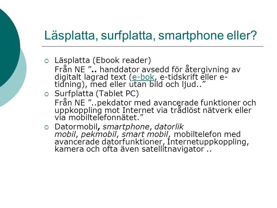 Läsplatta, surfplatta, smartphone eller.  Läsplatta (Ebook reader) Från NE ..