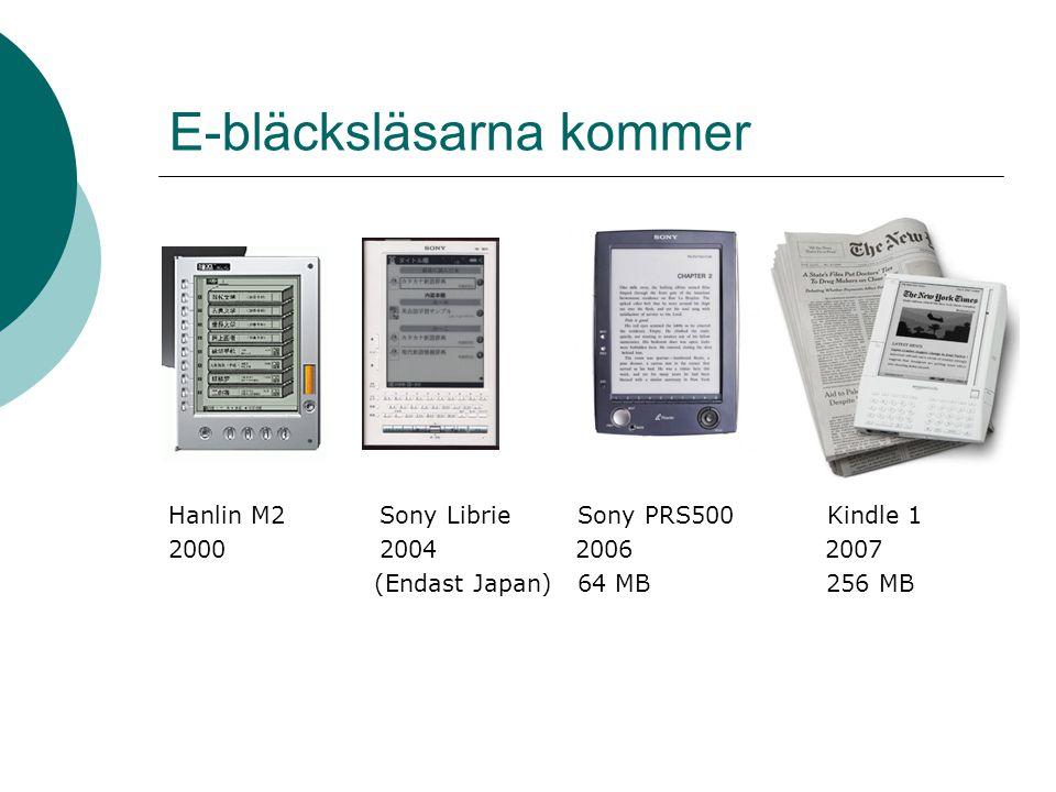 E-bläcksläsarna kommer Hanlin M2Sony Librie Sony PRS500 Kindle 1 2000 2004 2006 2007 (Endast Japan) 64 MB 256 MB